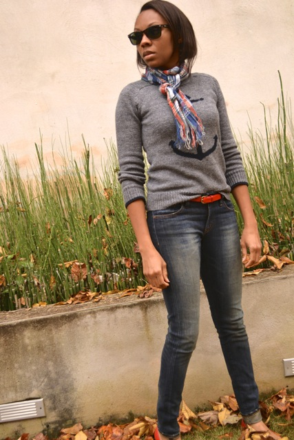 Anchor Sweater + Plaid Scarf + Red Belt and Flats 2
