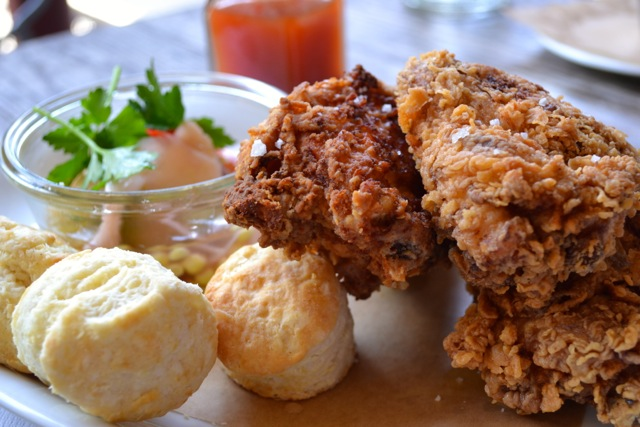 Fried Chicken with Tiny Biscuits and Pickled Vegetables