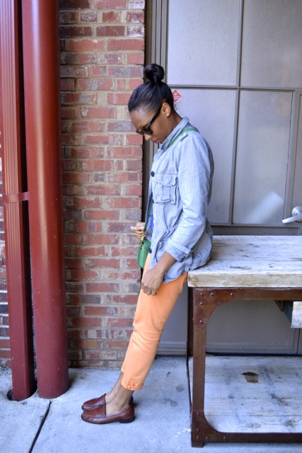 Diamond Print Sweater + Railroad Stripe Jacket + Orange Jeans 3