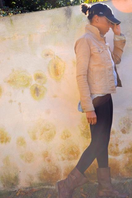 Chambray Shirt + Tan Denim Jacket + Leggings