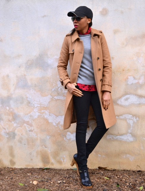 Camel Coat + Gray Sweater + Red Bow Shirt + Black Jeans 2