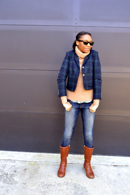Plaid Jacket + Cable Knit Sweater + Gingham Shirt 3