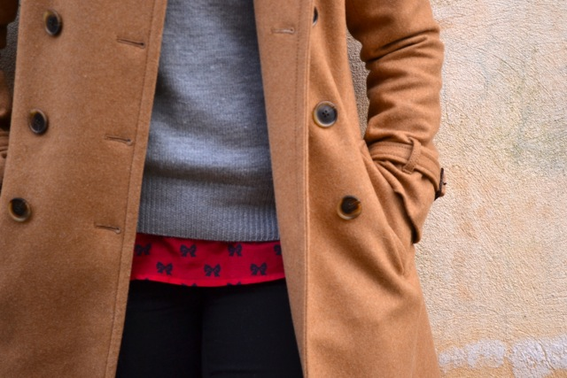 Camel Coat + Gray Sweater + Red Bow Shirt + Black Jeans