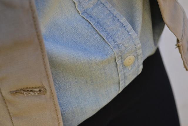 Chambray Shirt + Tan Denim Jacket + Leggings 2