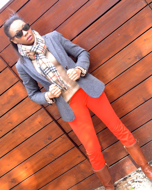 Red Pants + Camel Sweater + Gray Herringbone Blazer + Scarf 2