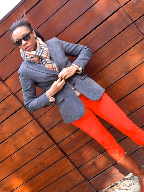 Red Pants + Camel Sweater + Gray Herringbone Blazer + Scarf 3