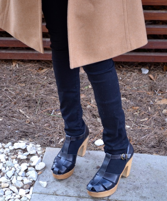 Camel Coat + Black Jeans, Tights, Shoes