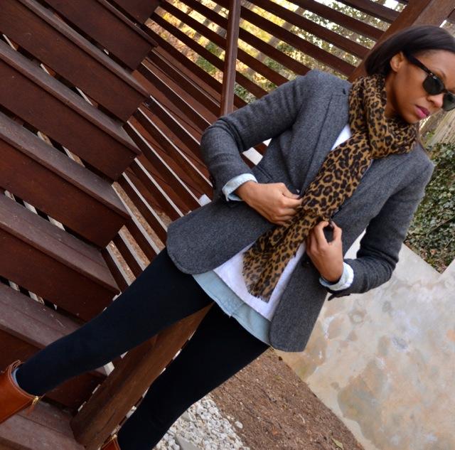 Blazer + Chambray Shirt + Sweater + Leggings