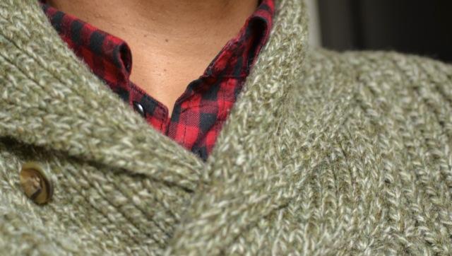Buffalo Check Shirt + Heather Olive Sweater