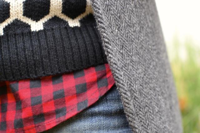 Buffalo Check Shirt + Print Sweater + Blazer 2