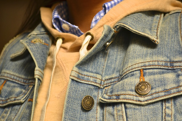 Gingham Shirt + Stripe Hooded Sweatshirt + Denim Vest 2