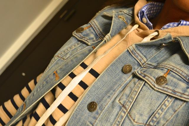 Gingham Shirt + Stripe Hooded Sweatshirt + Denim Vest 3