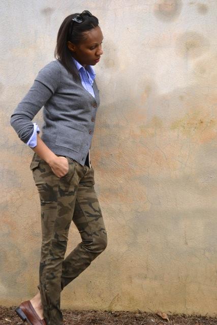 Camo Pants + Button Down Shirt + Cardigan 2