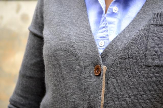 Gray Cardigan + Light Blue Button Down Shirt