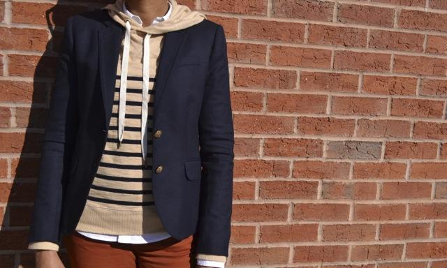 Striped Hooded Sweatshirt + White Shirt + Navy Blazer + Rust Jeans