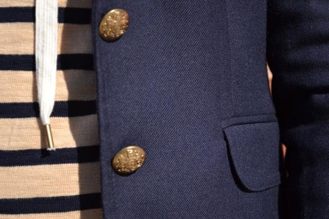 Striped Hooded Sweatshirt + Navy Blazer