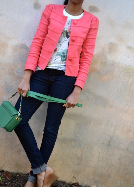 Floral Tee + Coral Frayed Jacket + Dark Denim + Green Bag