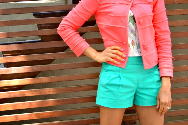 Floral Tee + Coral Frayed Jacket + Teal Pleated Shorts