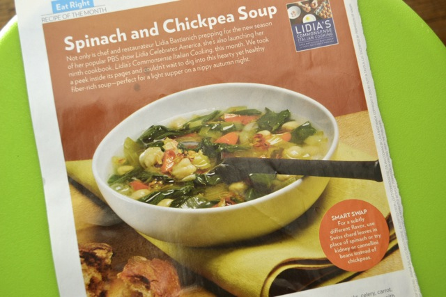 Spinach and Chickpea Soup (Women's Health Mag)