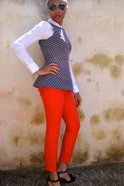 Peplum Top + Button Down Shirt + Red Pants