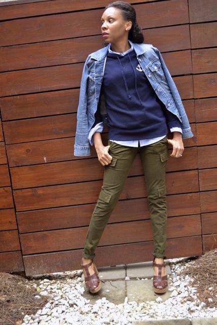 Anchor Hooded Sweatshirt + Stripe Shirt + Olive Cargo Pants + Denim Jacket 2