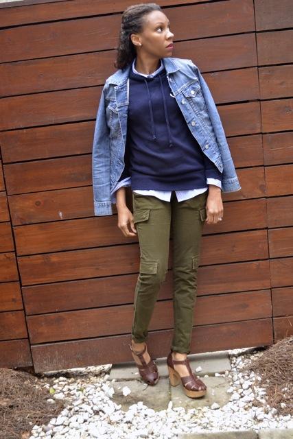 Anchor Hooded Sweatshirt + Stripe Shirt + Olive Cargo Pants + Denim Jacket