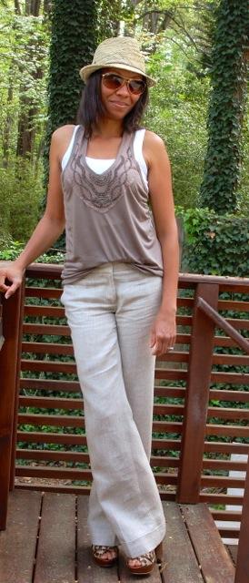 Textured Neutrals: Studded Tank + Linen Pants + Straw Hat