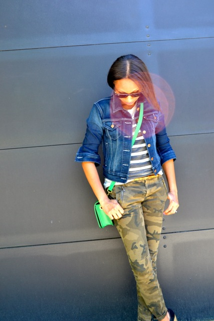 Denim Jacket + Gray Tee + Camo Pants + Green Crossbody Bag