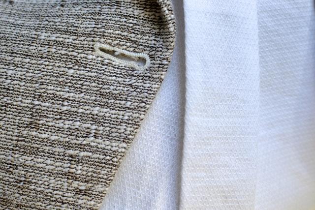 Textured Neutrals: Blazer + White Shirt