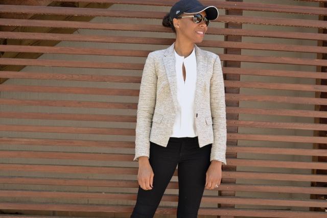 Textured Neutrals: Blazer + White Shirt + Black Jeans + Baseball Cap 3