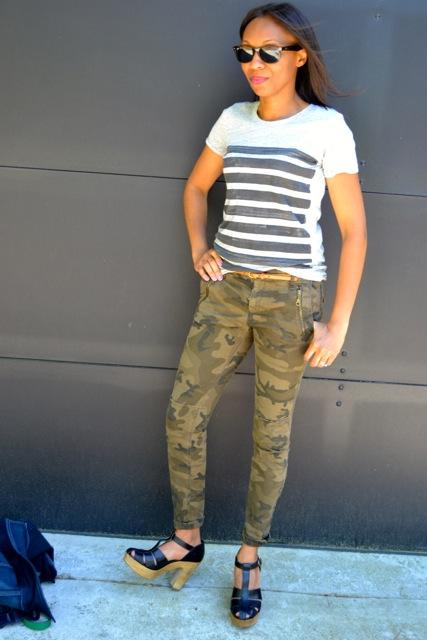 Stripe Tee + Camo Pants + Chunky Heels