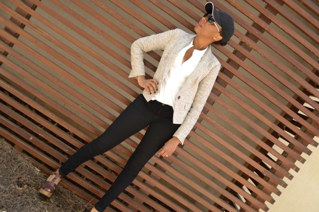 Textured Neutrals: Blazer + White Shirt + Black Jeans + Baseball Cap 2