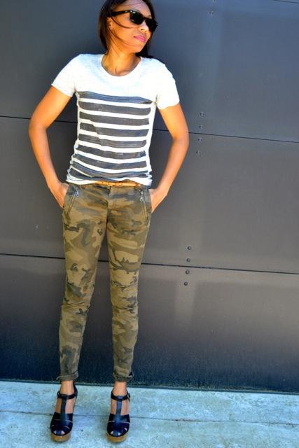 Stripe Tee + Camo Pants + Chunky Heels 2