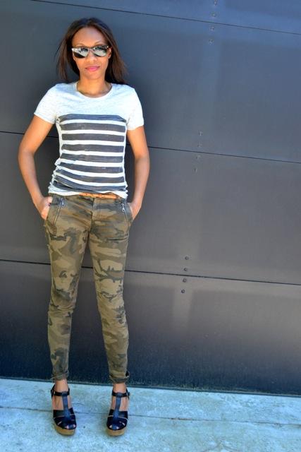 Stripe Tee + Camo Pants + Chunky Heels 3