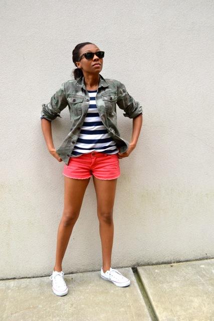 Stripe Tee + Camo Jacket + Orange Denim Cutoff Shorts 2