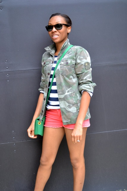 Stripe Tee + Camo Jacket + Orange Denim Cutoff Shorts 3