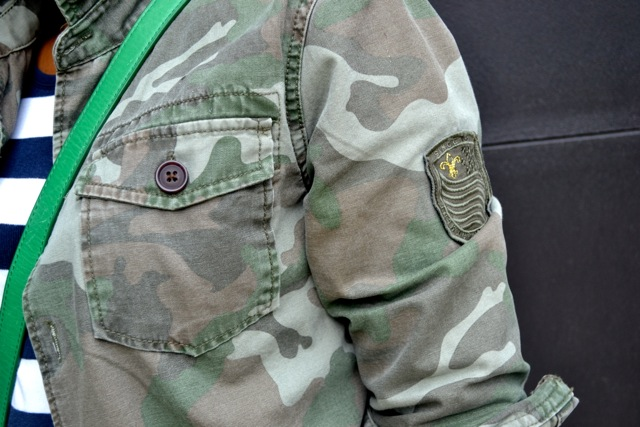 Camo Jacket + Navy/White Stripe Tee