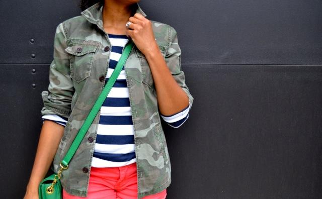 Stripe Tee + Camo Jacket + Orange Denim Cutoff Shorts 4