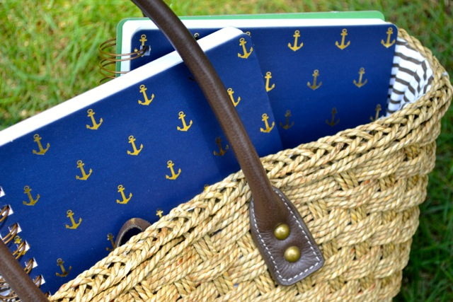 Navy and Gold Anchor Print Notebooks