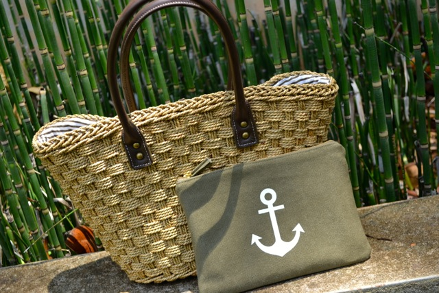 Straw Purse and Anchor Clutch