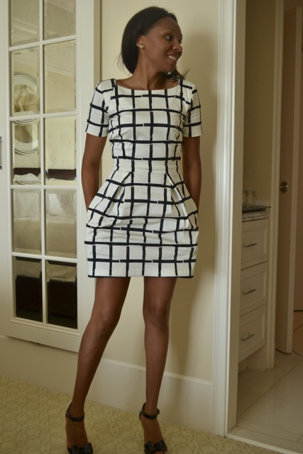 Black/White Windowpane Print Dress + Patent Leather Bow Heels