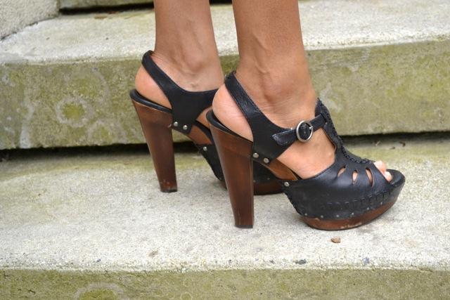 Frye Chunky Wood High Heel Sandals