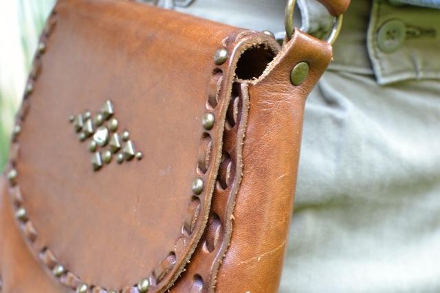 Vintage Studded Leather Crossbody Bag