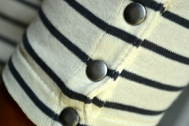 Detail: Silver Snaps on Stripe Tee