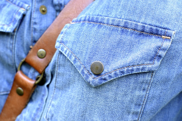 Denim Western Shirt + Vintage Leather Crossbody Bag