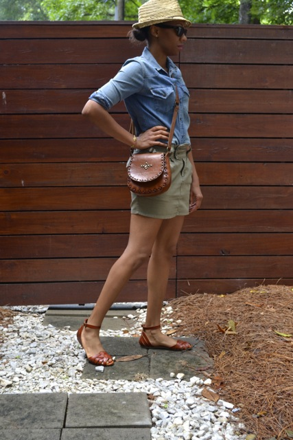 Straw Hat + Denim Shirt + Mini Skirt + Leather Crossbody Bag