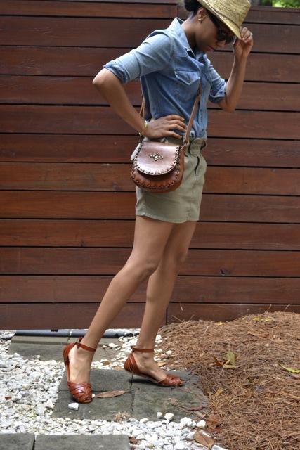 Straw Hat + Denim Shirt + Mini Skirt + Leather Crossbody Bag 2