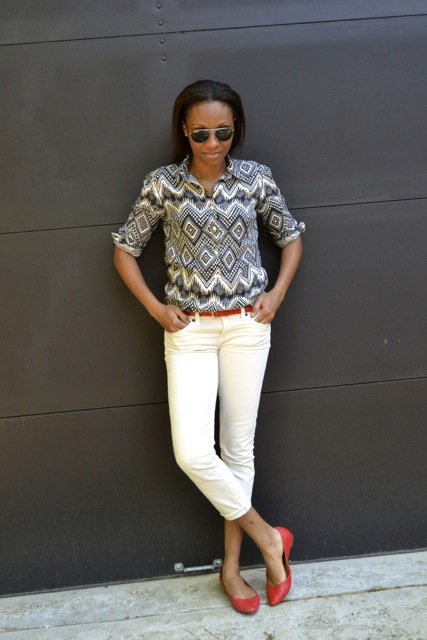 Diamond Ikat Print Shirt + Cream Jeans + Red Belt + Red Flats 2