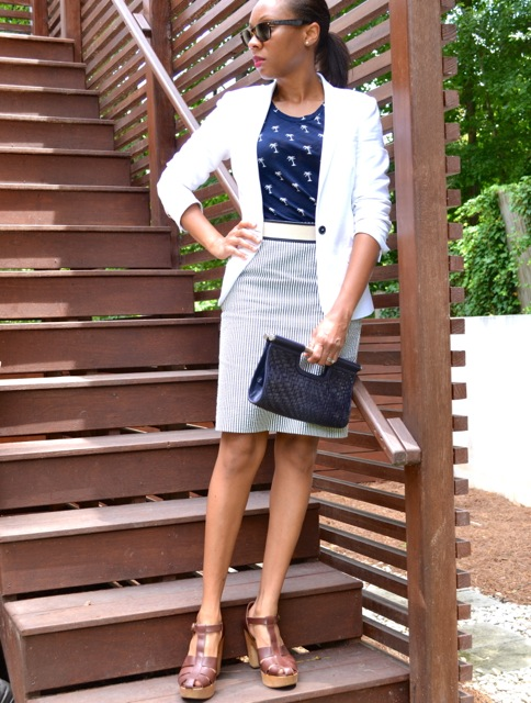 Seersucker Pencil Skirt + Palm Tree Print Tee + Linen Belt + White Blazer 2