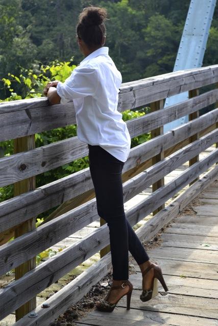 Simple Style: White Button Down Men's Shirt + Black Leggings/Pants + Leopard Heels 3
